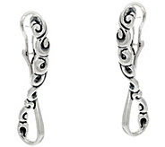 Carolyn Pollack Sterling Silver Signature Scroll Design Hoop Earrings - J334330