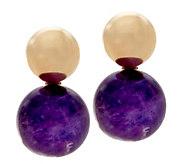14K Gold Polished Bead & Gemstone Earrings - J334730