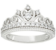 Diamonique Crown Band Ring, Sterling - J335030
