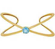 As Is Veronese 18K Clad Small Gemstone X-Design Cuff - J335430