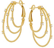 Judith Ripka Verona 14K Clad Multi-row Hoop Earrings - J351530