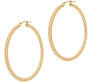 Italian Gold 2 Round Diamond Cut Hoop Earrings 14K Gold - J353730