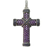 Judith Ripka Sterling Pave Amethyst & Iolite Cross Enhancer - J376830