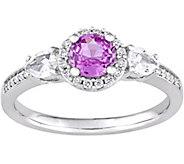 1.00 cttw Sapphire & 1/10 ct Diamond Halo Ring - J377730