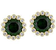 14K 2.80 cttw Chrome Diopside & 1/4 cttw Diamond Stud Earrings - J377830