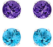 Sterling Silver Round Gemstone Stud Earring Set - J381130