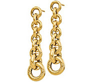 Italian Gold Graduated Circle Links Dangle Earrings, 14K - J381830