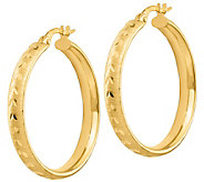Italian Gold 1-1/8 Diamond-Cut Hoop Earrings 14K, 2.4g - J382230