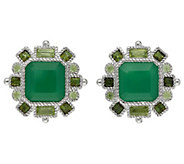 Judith Ripka Sterling 6.75 cttw Gemstone ButtonEarrings - J383230