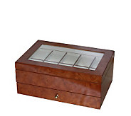 Mele & Co Winston Burlwood Oak Finish Watch Boxwith Cushions - J103231