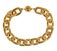 As Is Oro Nuovo Large Rolo Link Bracelet with Magnet, 14K - J152331