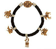 Jody Naranjo Braided Leather Sterling/Brass Decorative Charm Bracelet - J280231