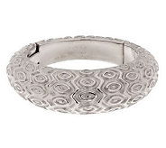 Italian Silver Sterling Bold Avg. Marquise Pattern Domed Hinged Bangle - J285731