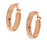 Bronze 1-1/2 Oval Omega Back Hoop Earrings by Bronzo Italia - J287031