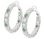 Judith Ripka 1.6ct Emerald and 6.2ct Diamonique Hoop Earrings - J288931