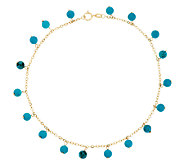 14K Gold 10 Turquoise Bead Dangle Ankle Bracelet - J289631