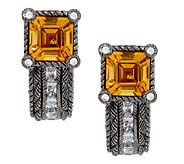 Judith Ripka Sterling 2.30ct Citrine and Diamonique Earrings - J290231