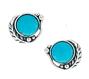 American West Sterling Turquoise & Leaf Button Earrings - J290431