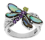 Carolyn Pollack Sterling Silver Abalone Doublet & Gemstone Dragonfly Ring - J291531