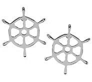 Stainless Steel Nautical Ship Wheel Stud Earrings - J293531