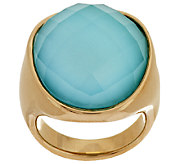 14K Gold Bold Sleeping Beauty Turquoise Doublet Ring - J295431