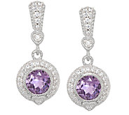 Judith Ripka Sterling & Diamonique 2.80ct Amethyst Quartz Earrings - J297031