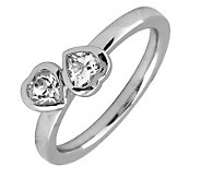 Simply Stacks Sterling & White Topaz Double-Heart Ring - J299331