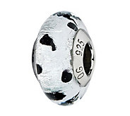 Prerogatives White/Black Dots Italian Murano Glass Bead - J300431