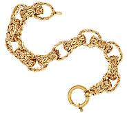 14K Gold 6-3/4 Bold Polished Byzantine Rolo Link Bracelet, 15.0g - J318731