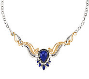 Sterling Silver & Brass Lapis Statement Necklace by American West - J321031