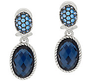 Judith Ripka Sterling Pave Oval Gemstone Drop Earrings - J321931