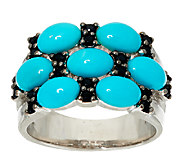 Sleeping Beauty Turquoise & Black Spinel Sterling Ring - J323231