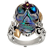 Barbara Bixby Sterling & 18K Carved Gemstone Skull Ring - J323631