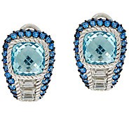 Judith Ripka Sterling Blue Topaz & Pave Earrings - J324031