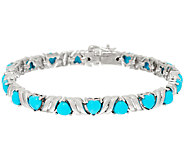 Sleeping Beauty Turquoise Heart Cut 7-1/4 Sterling Tennis Bracelet - J324531