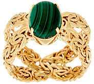 14K Gold Malachite Byzantine X-Ring - J324631