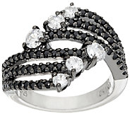 Diamonique Black and Clear Swirl Design Ring, Sterling - J325031