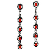 Red Coral Sterling Silver Linear Earrings by American West - J326031