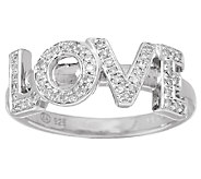 LOVE Block Diamond Ring, Sterling, 1/7 cttw, by Affinity - J326531