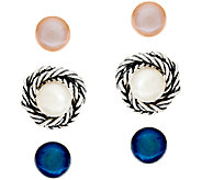 Sterling Silver Cultured Pearl Earrings Set w/ Jacket by Or Paz - J326631
