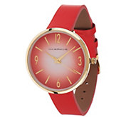 Isaac Mizrahi Live! Ombre Dial Leather Strap Watch - J327131