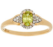 Oval Sphene & Diamond Ring 14K Gold, 0.40 ct - J328031