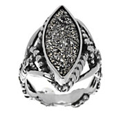 As Is Carolyn Pollack Platinum Color Drusy Sterling Ring - J329231