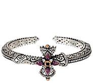 Barbara Bixby Sterling & 18K Rhodolite & Sapphire Cross Cuff Bracelet - J331631