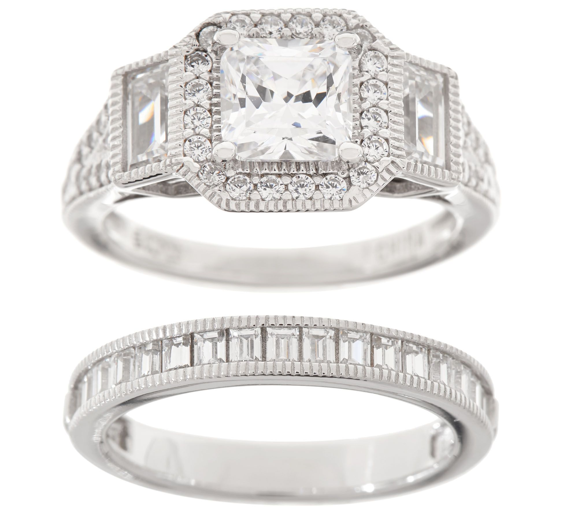 Diamonique 200 cttw Bridal Ring Set Sterling Page 1 QVCcom