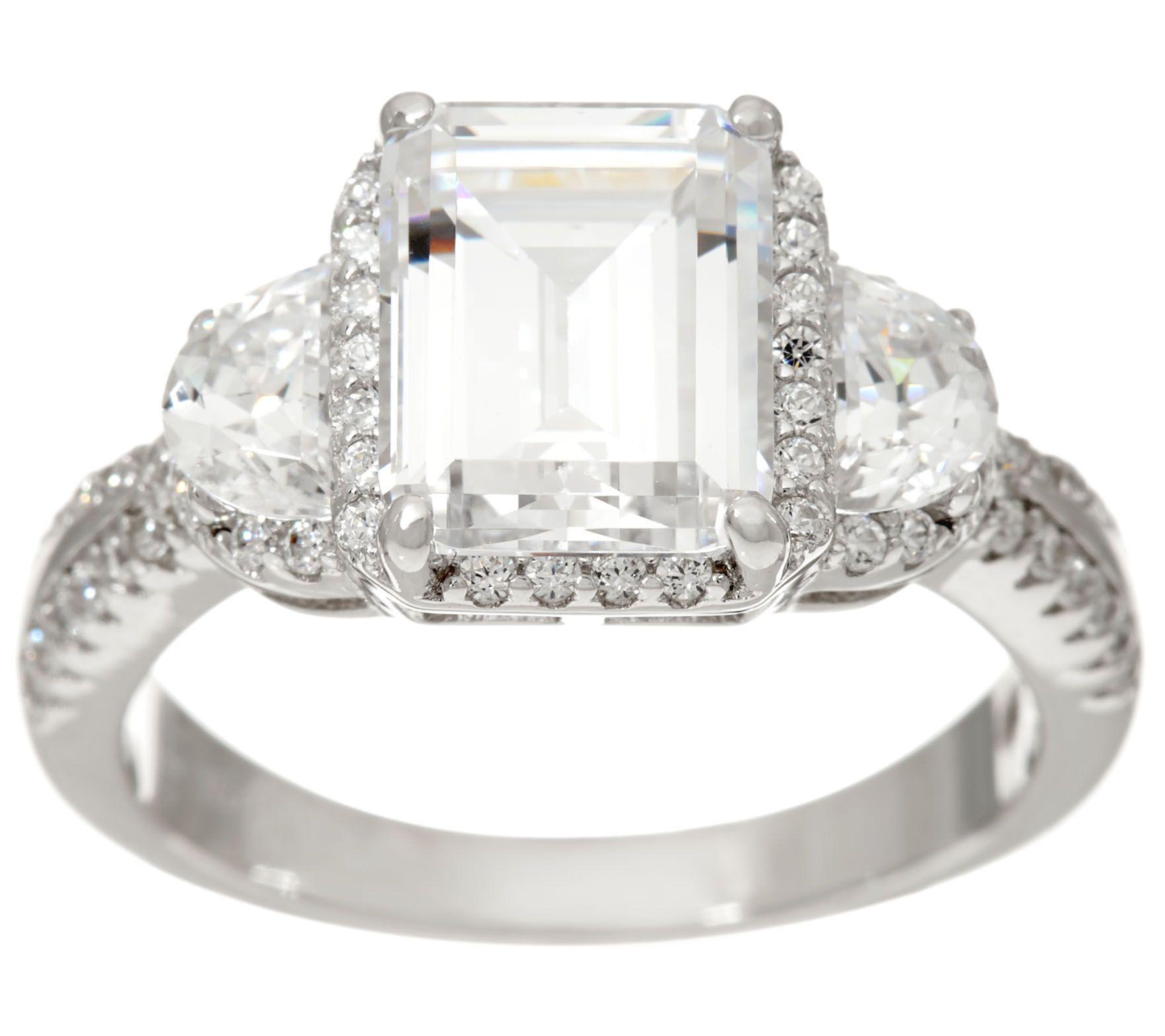 diamonique emerald cut bridal ring sterling qvc