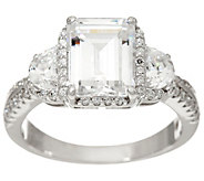 Diamonique Emerald Cut Bridal Ring, Sterling - J335231