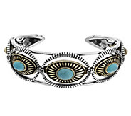 As Is Sterling/Brass Turquoise Average Cuff by Fritz Casuse - J335631