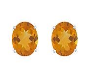 8x6mm Oval Semi-Precious Gemstone Stud Earrings, 14K White - J337931