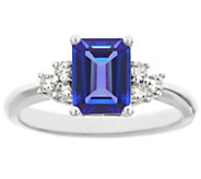 Premier Emerald-Cut 1.10cttw Tanzanite & Diamond Ring, 14K - J338231